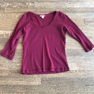 Mod-o-doc cotton with velvet V neck trim top